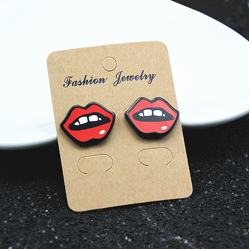 E098 Bestseller Cute Cartoon Cute Ohrstecker Cartoon Kirschblüte Strawberry Lip Ohrringe Ohrringe für Frauen ...