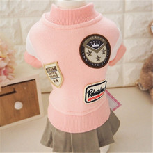 Fashion Winter Dog Dress Cute 100% Cotton College Wind Lovers Outfit for Small Pet Clothes Supplies (pink,blue)