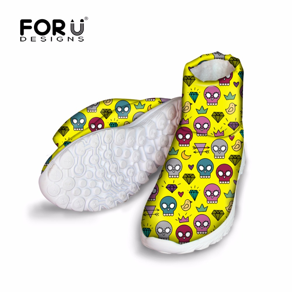 FORUDESIGNS Cute Mini Skull Pattern Vintage Women Ankle Boots Brand Designer Winter Fur Warm Short Boots for Female Flats Shoes