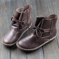 Careaymade 2017 New Handmade Head Layer Leather Flat Bottom Short Boots Cowhide RETRO Art Mori Leisure