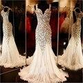 Cristales de Bling bling Vestidos de Baile Perlas Brillantes galajurken Stones Sirena Larga Noche Backless Formal de Los Vestidos vestidos de noche