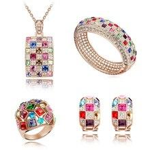 Alta Calidad Cristales Genuinos de Cubic Collar Pendientes Anillo Bangle para Mujeres Juegos de Joyería Accesorios de La Boda