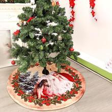 120CM Santa Claus Christmas Tree Skirt Non-woven Fabric Cartoon Pattern Bottom Decoration