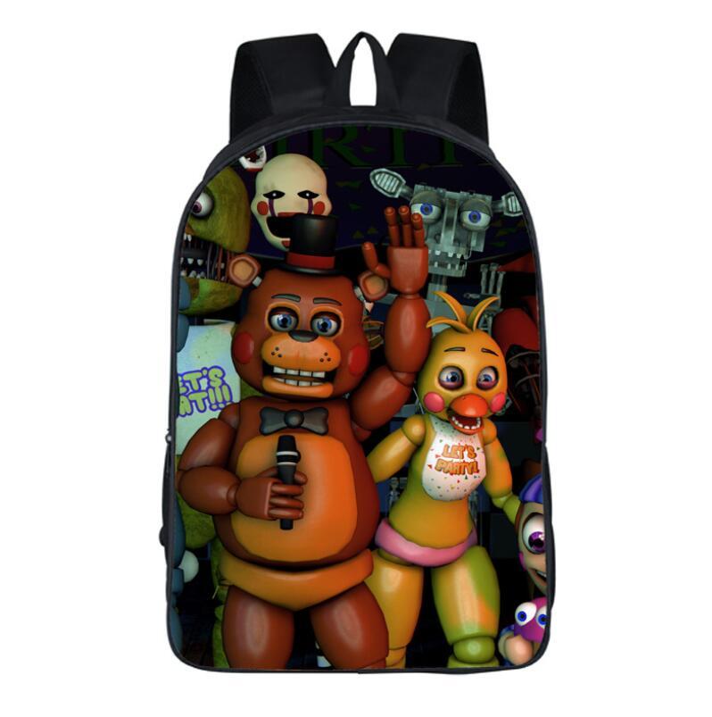16inch Cartoon five nights at freddys School Bags Backpack Children Schoolbags For Teenagers Boys&Girls School Book Bag Kids