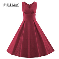 JLI MAY Sleeveless Lace Dress V Neck high waist red white Summer women Dress plus size 50s Vintage elegant ladies party dresses