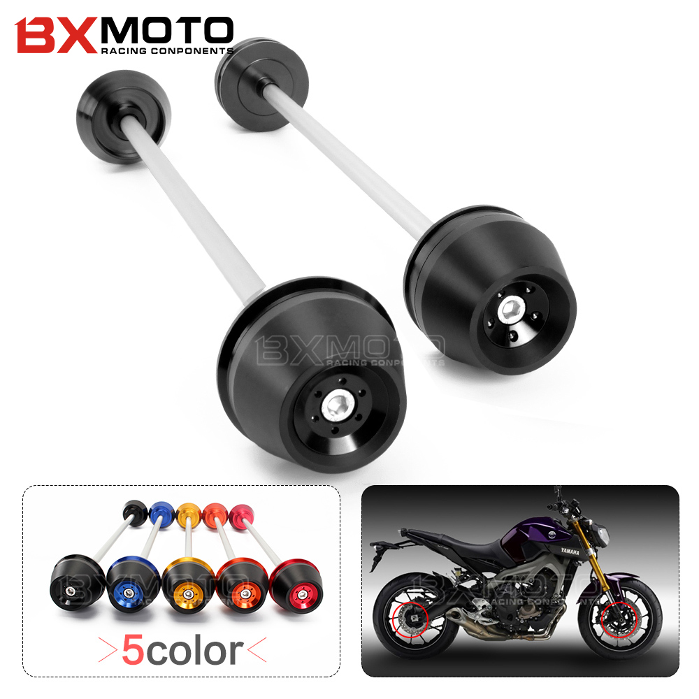 Motorcycle accessories Front&Rear Axle Fork Crash Frame Sliders Cap Wheel Falling Protection Guard For Yamaha MT09 MT-09 14-2015 fit for ducati monster 695 2007 2008 front rear axle fork crash sliders cap blue motorcycle falling protection