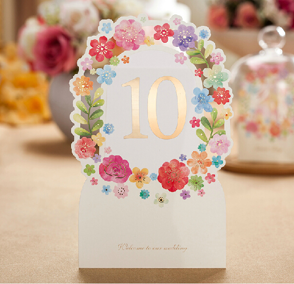 Wedding Table Card Elegant Laser Cut White Paper Card Wedding Decoration Lover Flower Floral Party Wedding Table Cards