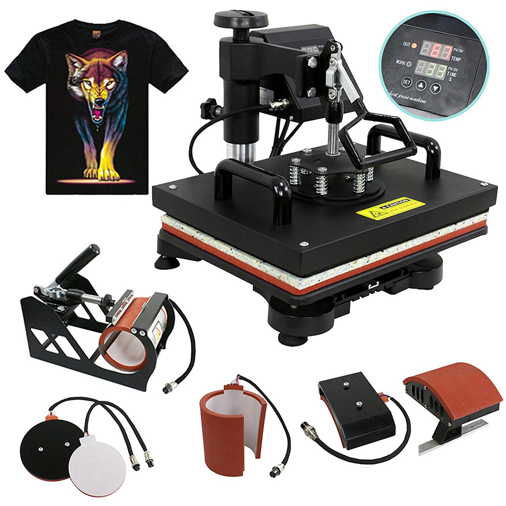 Upgraded Double Display Slide Out 5 In 1 Heat Press Machine T-shirt/Mug/Cap/Plate/Mouse Pad/Phone Case Printing Machine