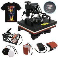 Upgraded Double Display Slide Out 5 in 1 Heat Press Machine T shirt/Mug/Cap/Plate/Mouse Pad/Phone Case Printing Machine