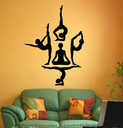 Vinyl Wall Decal Sticker Yoga Silhouette Item Wall Paper Mural Wall Stickers Home Decor Size 28x21inches