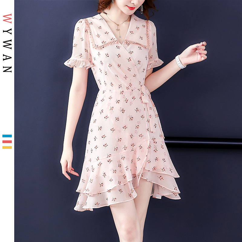 WYWAN 2019 été plage robes décontracté casual Boho Style imprimé v-line Mini robe de soirée à manches longues bureau chemise robe Vestidos