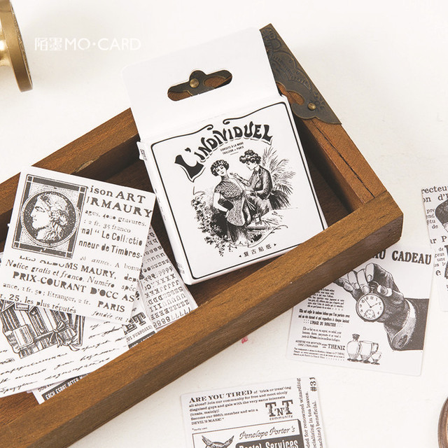 45 Pcs Black And White Paper Stickers Vintage Retro Old English