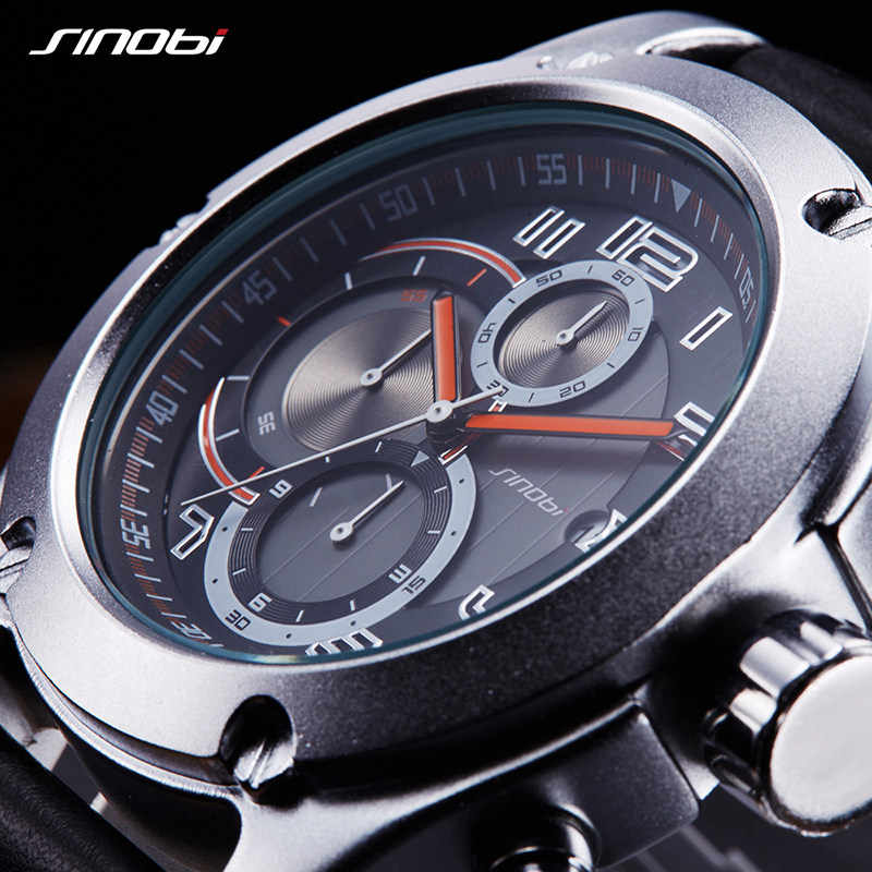 2019 SINOBI Chronograph Calendar Waterproof Geneva Quartz Clock Military Hora Relogio Masculino Big Dial  Sports Quartz Watches