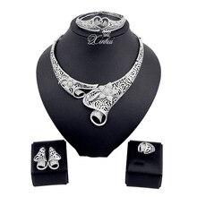 Traje de Las Mujeres de Plata Plateado Joyería de La Boda africana Set Vintage Crystal Rhinestone del pendiente del collar Pulsera Juegos de Joyería
