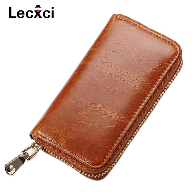 Lecxci Men&women style Genuine Leather Zipper Key Chain Holder Case wallet Pouch Id,Credit Cards car keys bag