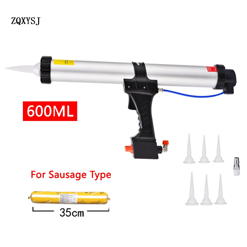 NEW 600ML Caulking Gun Air Pneumatic Work Sealant Gun For Valve Adjustment Tool Decoration Sausage Silicone Finishing Tools1pc