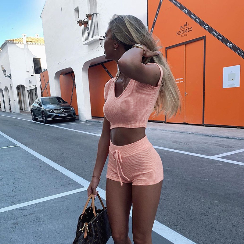 Summer 2 Piece Set Women Short Crop Top Sets Sexy Bodycon Hooded Crop Tops Hot Shorts Two Piece Set Casual Basic Solid Lady Set