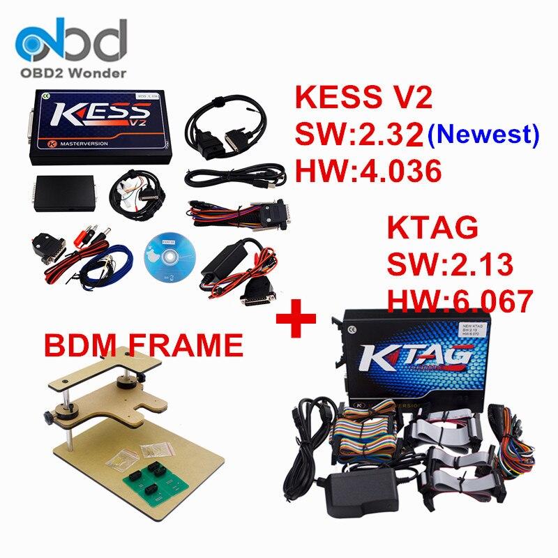 Prix pour KESS V2 HW 2.32 HW 4.036 + KTAG V2.13 HW 6.067 + BDM CADRE ECU Chip Tuning Outil Non Jetons Livraison EMC Titanium 161 Livraison gratuite