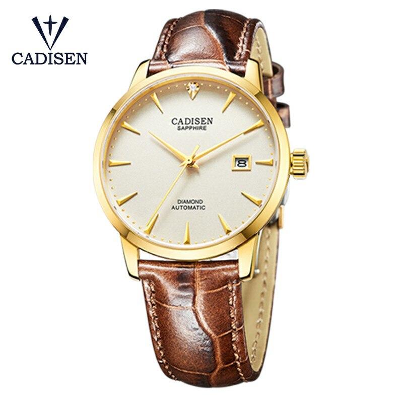 CADISEN автоматические механические для мужчин часы из нержавеющей стали Дата MIYOTA 9015 дуплекс сапфир кожаный ремешок водонепроница...