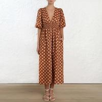 2019 ZIM дизайнерское подиумное Платье женское винтажное Макси платье в горошек женское сексуальное платье с v образным вырезом праздничное пл