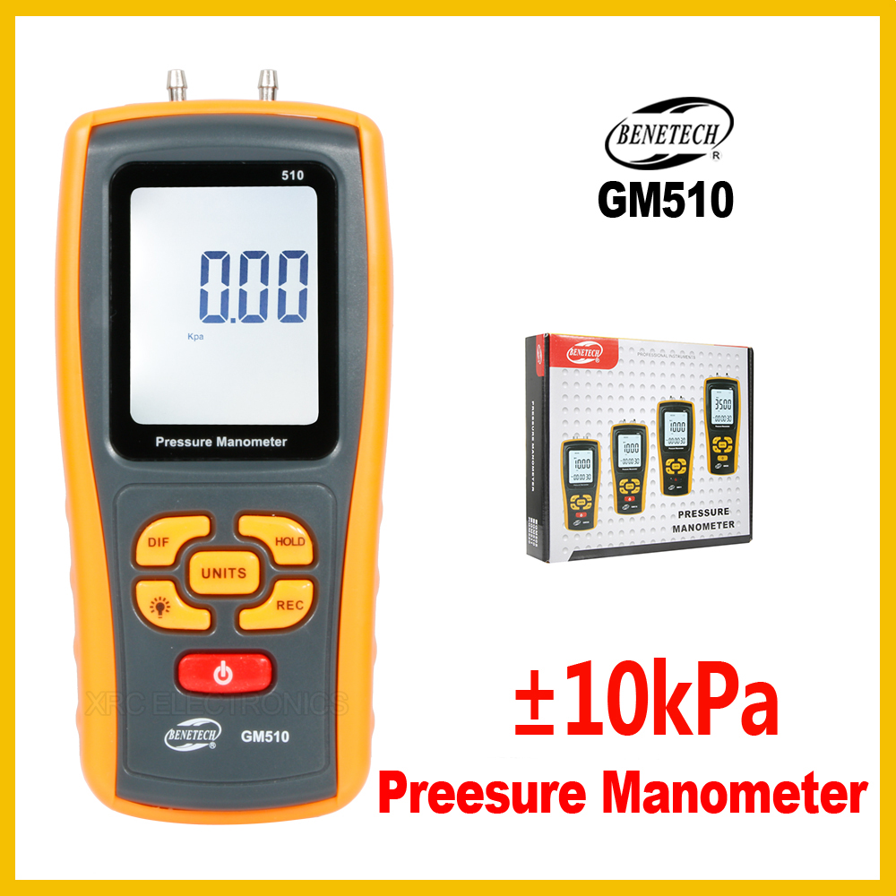 High Precision Digital Manometer Air Gauge Meter Barometers Differential Pressure Tester Detector GM510 BENETECH