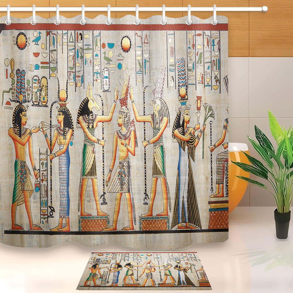 Detail Feedback Questions About LB Exotic Ancient Egyptian Myths Mural Pharaoh Wall Shower Curtain Liner Horus Anubis Party Bathroom Fabric For Bathtub