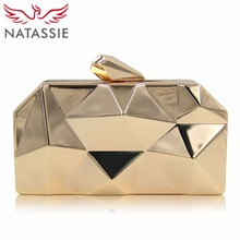 NATASSIE Women Clutch Purses Ladies Gold Bag Female Metallic Evening Clutches Bags