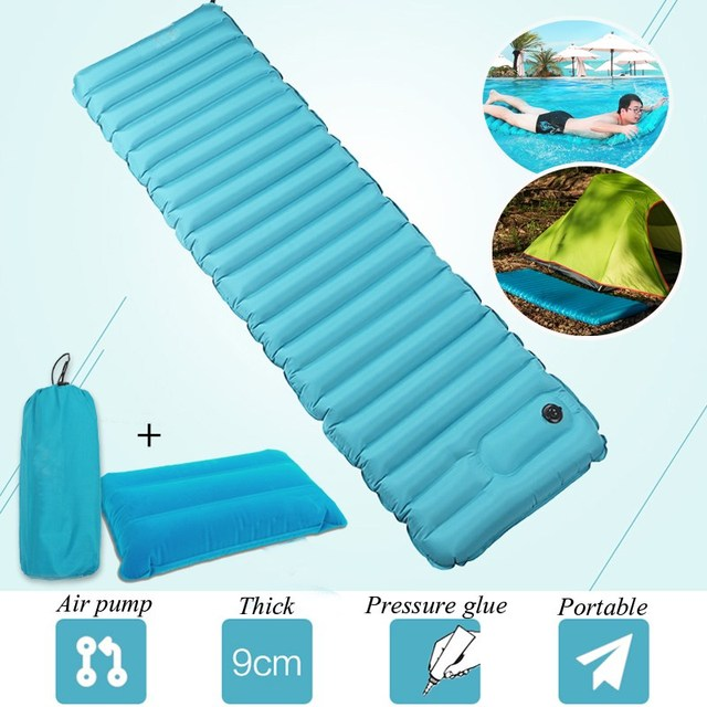 Best Deal 185x50x9cm PVC Hand Pressure Inflatable Air Portable Sleeping Pad  Outdoor Camping Mat Matress With Pillow-in Camping Mat from Sports &