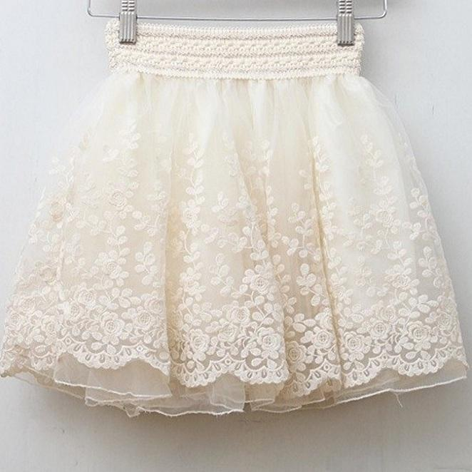 Say well Skirt New 2016 Saia Korean Full Lace Embroidery Tulle Skirt Mini Skirts Fashion Women Lace Skirts Basic