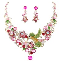 Bella Fashion Pink Hummingbird Flower Jewelry Set Austrian Crystal Rhinestone Necklace Earrings Set For Party Jewelry Gift