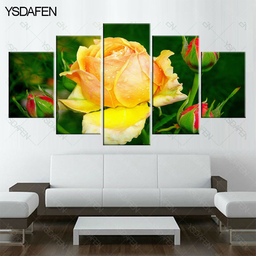 5 pieces yellow flower canvas of roses for HD printed painting ...