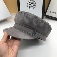 Han edition joker gray cap temperament faux suede letter little sweet wind navy hat for men and women newsboy cap hat
