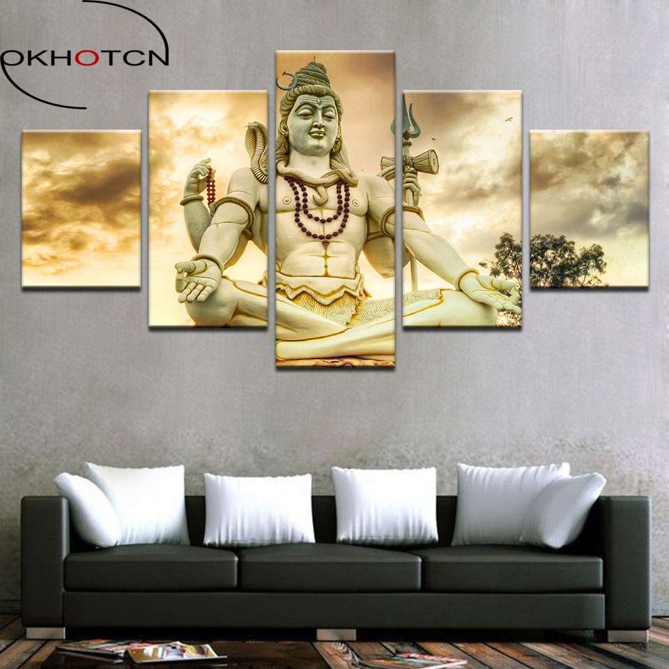 5 panel printed canvas painting India shiva canvas print art Modern ...