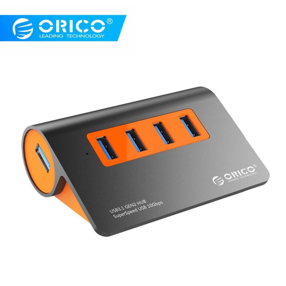 ORICO Alumínio 4 Portas USB3.1 10 5gbps Super Velocidade De Transmissão USB Hub Splitter com 12V Adaptador De Energia Para Computador acessórios