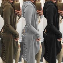Осень, стиль, модный готический женский кардиган с вырезами, длинный, рваный сзади, с капюшоном, пальто, свитер