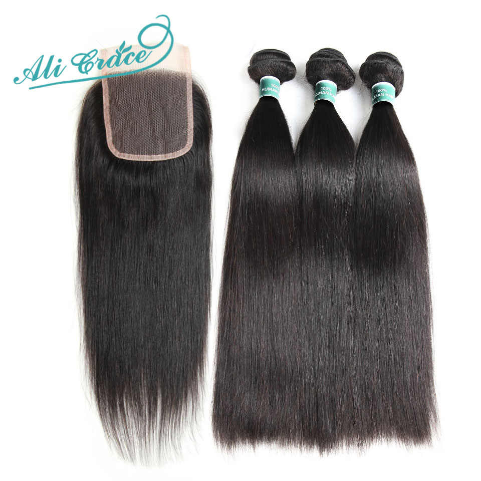Ali Grace Hair Straight Hair 3 Bundles With Lace Closure 100% Remy Mongolian Hair With 4*4 Free/Middle Part Closure