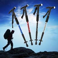 Aluminum Alloy Extendable Outdoor Hiking Walking Canes Walking Sticks Alpenstocks Mountain Trekking Pole W Compass Led