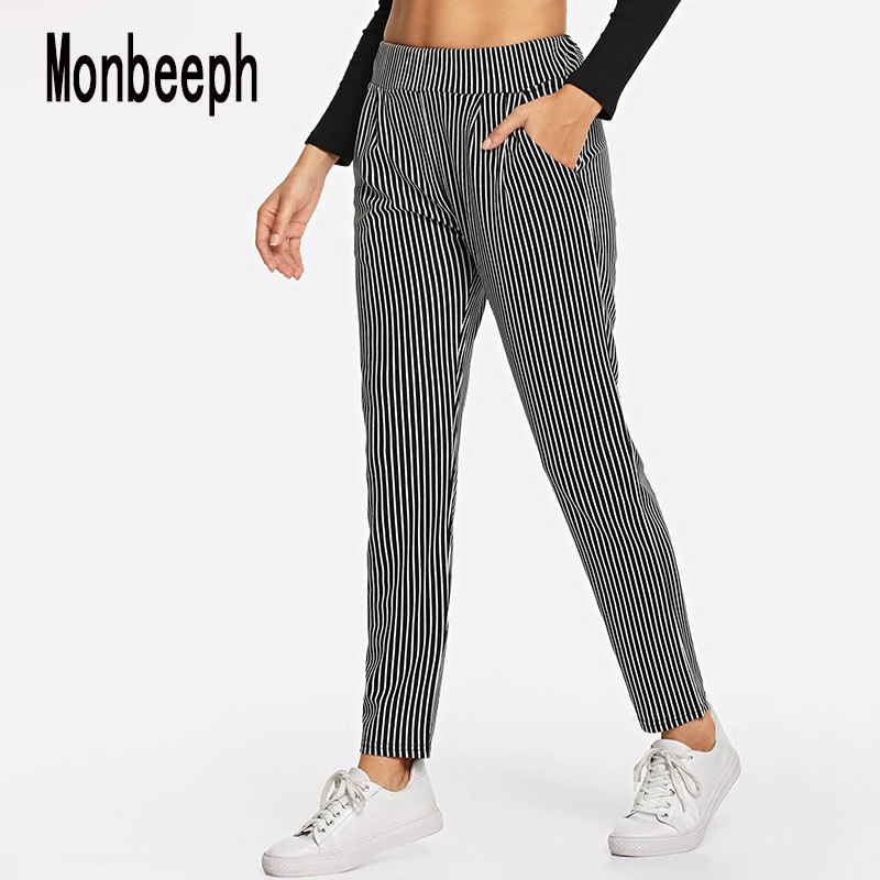 Monbeeph Harem Pants Strip Summer Trousers Elastic-Waist Ankle-Length England-Style Women