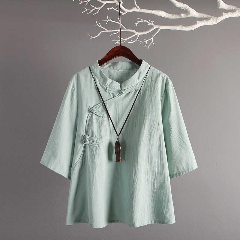 5ea75adbf62d1e Chinese Style Linen Top New Retro Art Cotton Oblique Buttons Seven Sleeves  Loose Linen Tops Women