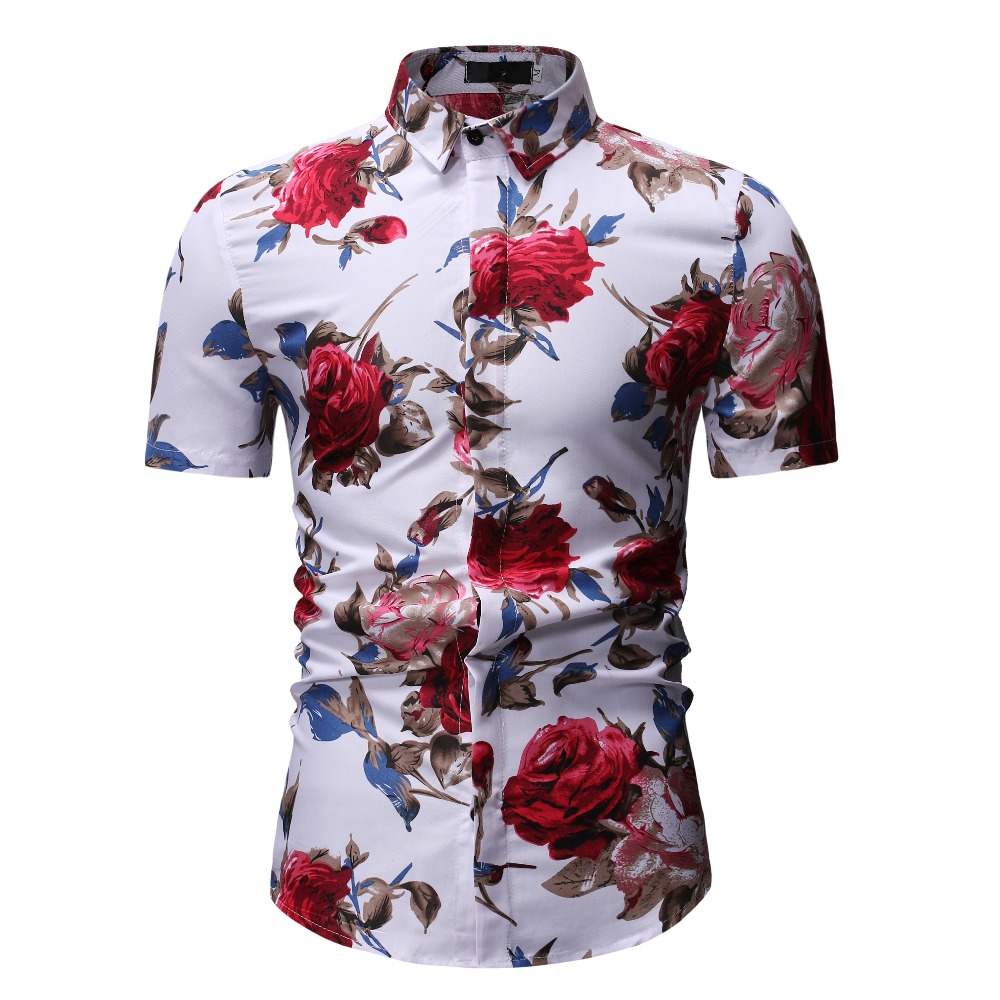 New Summer Fashion Mens Shirt Slim Fit Short Sleeve Floral Shirt Mens Clothing Trend Plus Size Mens Casual Hawaii Flower Shirts