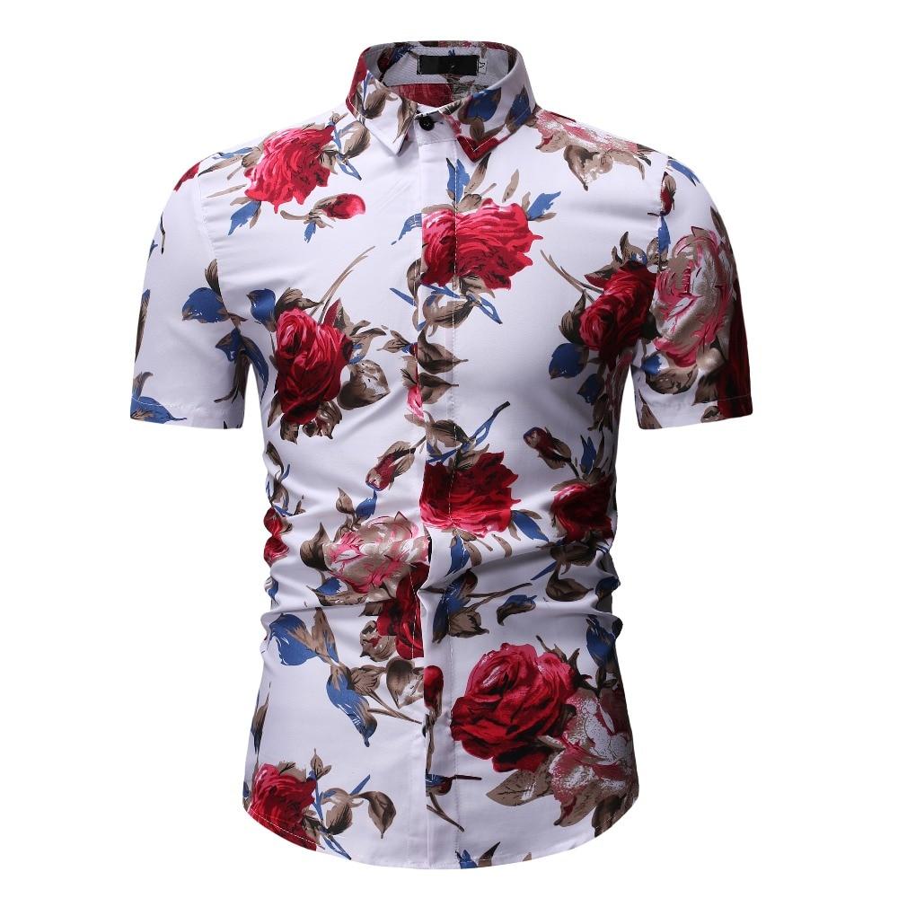 New Summer Fashion Mens Shirt Slim Fit Short Sleeve Floral Shirt Mens Clothing Trend Plus Size Mens Casual Hawaii Flower Shirts