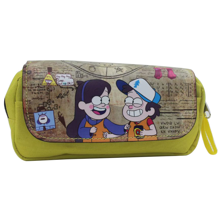 Cute Cartoon Gravity Falls Pencil Bags Games Anime Style Adventure Time Students Stationery Pen Holder Purse Cosmetic Case Bag