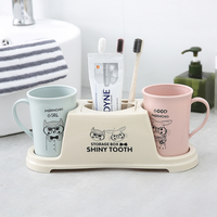 Plastic shelf couple toothbrush shelf home storage racks bathroom organizer toothbrush cup set toothpaste holder wash cup