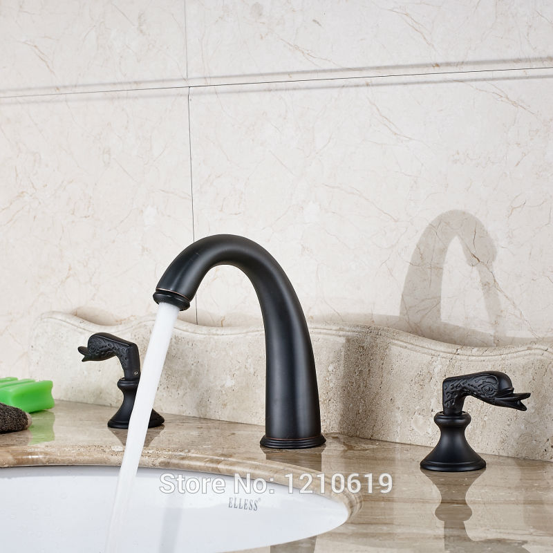 Newly Oil Rubbed Bronze Bathroom Sink Faucet Cold&Hot Water Faucet Dual Handles Basin Mixer Tap Three Holes