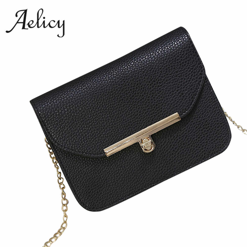 65ea2b7db7 Aelicy Luxury Small Designer Chain Women Bag Women Handbag Hasp PU Leather  Solid Chains Ladies Women s