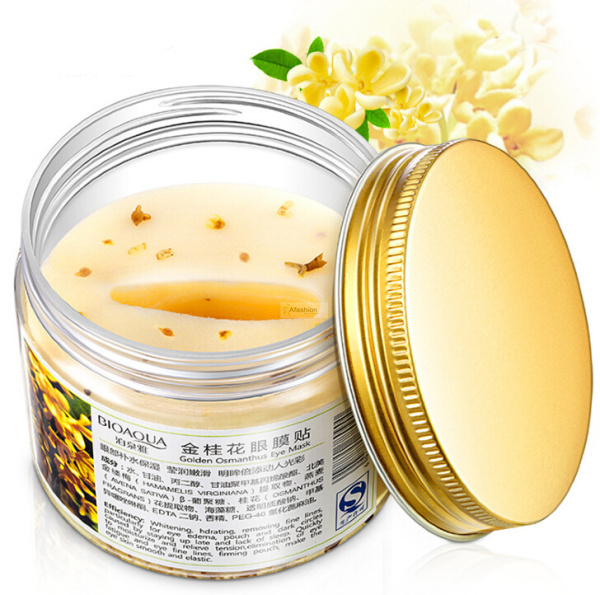 80pcs/ bottle Gold Osmanthus eye mask women Collagen gel whey protein face care sleep patches health mascaras de dormir recette merveilleuse ultra eye contour gel by stendhal for women 0 5 oz gel
