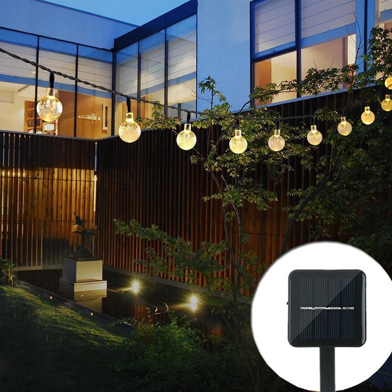 6M 30 LED Crystal Ball Solar Light String Outdoor Waterproof Fairy Lights Garlands Garden Christmas Wedding Decor Solar Power