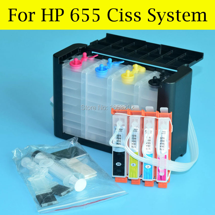 BOMA.LTD 4 Color CZ109AE 655 Ciss System For HP655 For HP Deskjet Ink 3525 5525 4615 4625 6525 6520 Printer With Auto Reset Chip