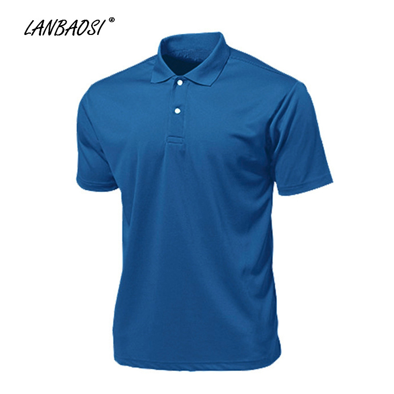 LANBAOSI Men's Sports Polo Shirts Solid Short Sleeve Quick Dry Cool Golf Tennis Jerseys Stand Collar camisa masculina цена 2017