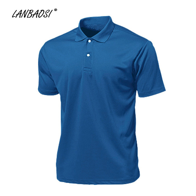 0b943d674 LANBAOSI Men's Sports Polo Shirts Solid Short Sleeve Quick Dry Cool Golf  Tennis Jerseys Stand Collar camisa masculina